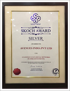 CCAvenue bags the 'Silver Award' at the prestigious Skoch Payments Award 2016